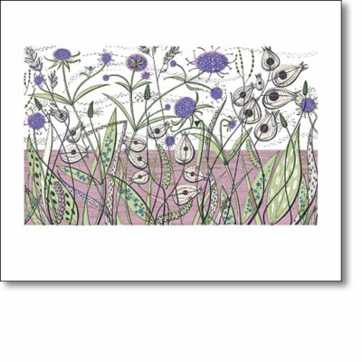Greetings card of 'Green Bank' by Angie Lewin