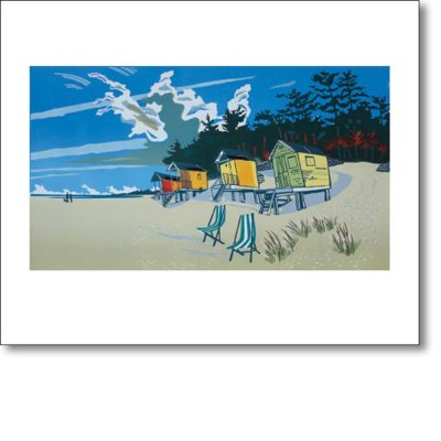 Greetings card of 'The Beach at Wells' by Colin Moore