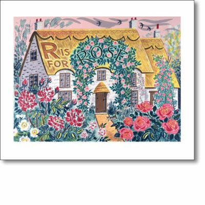 Greetings card of 'R is for Rose' by Emily Sutton