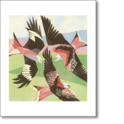 Greetings card of 'Red Kites, Laurieston' by Lisa Hooper