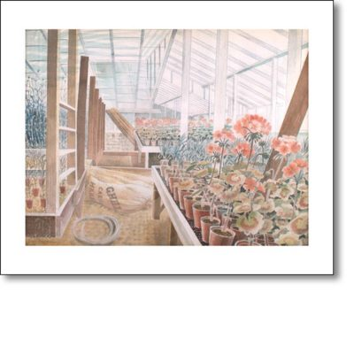 Greetings card of 'Geraniums and Carnations, 1938' by Eric Ravilious