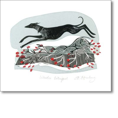 Greeting card of 'Winter Whippet' by Angela Harding