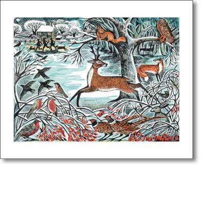 Greeting card of 'Winter Woodland' by Angela Harding