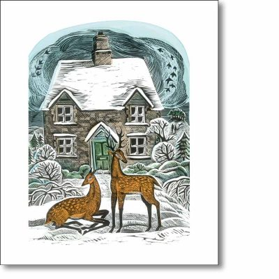 Greeting card of 'Christmas Cottage' by Angela Harding