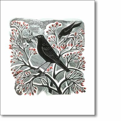 Greeting card of 'Blackbirds and Berries' by Angela Harding