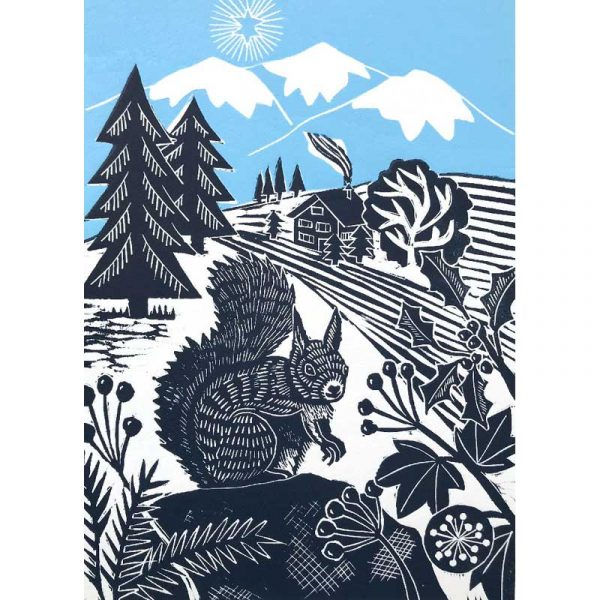 'Busy Squirrel' linocut print by Kate Heiss
