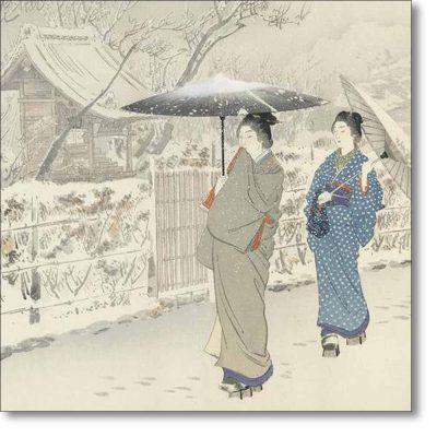 Christmas Card of 'The Sleeping Dragon Plum Tree at Kameido' by Ogata Gekko