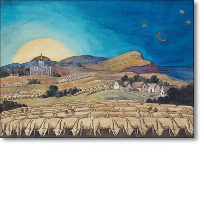 Christmas Card of 'Evening Landscape with Sheep' by Gwen Raverat