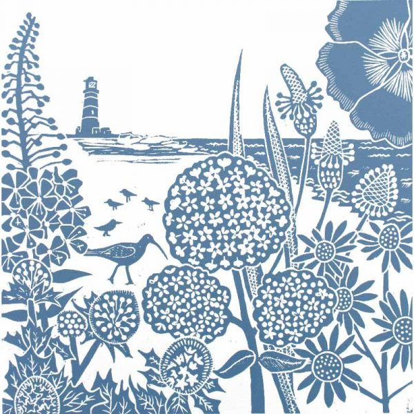 'Curlew on the Beach' linocut print by Kate Heiss