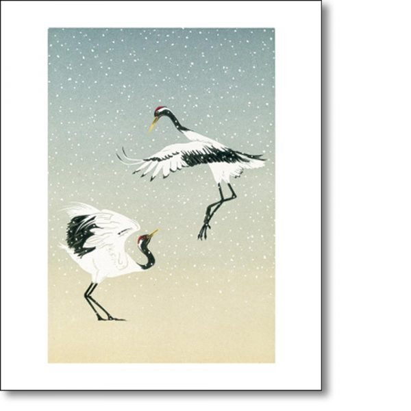 Greeting card of 'Red Crowned Cranes' by Jenny Crocker