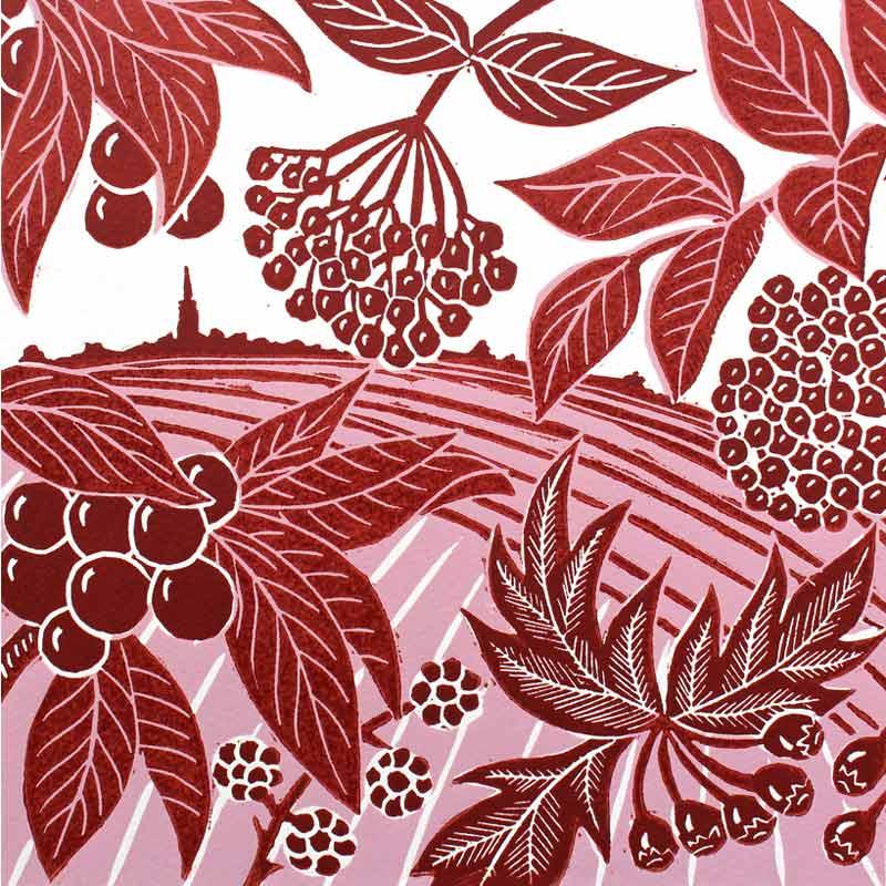 'Autumn Walk' linocut print by Kate Heiss