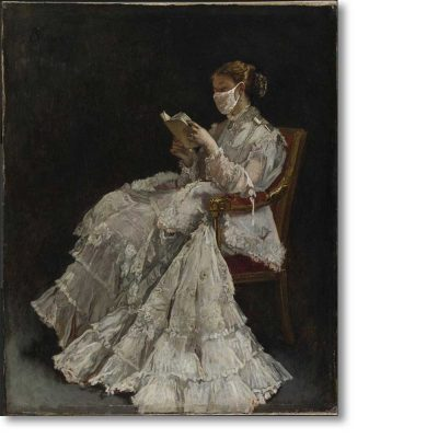Christmas Card of 'La Liseuse (The Reader)' by Alfred Emile Leopold Stevens