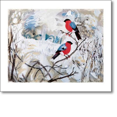Greeting card of 'Bullfinches' by Mark Hearld