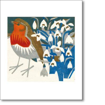 Greeting card of 'Snowdrop Robin' by Matt Underwood