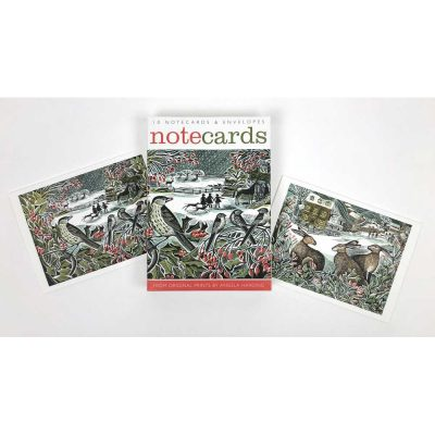 Notecards pack of 'Holly Hedge & We Three Hares' by Angela Harding