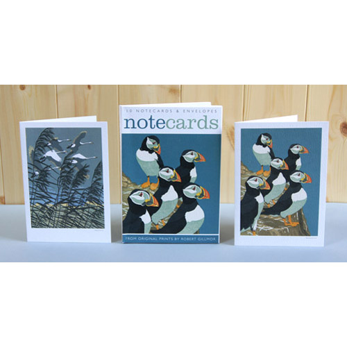 Notecards pack of 'Puffins & Whooper Swans' by Robert Gillmor