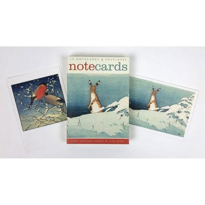 Notecards pack of 'Hare in Snow & Bullfinches' by A W Seaby