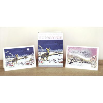 Notecards pack of 'Winter Hares & Midwinter Starlings' by Niki Bowers