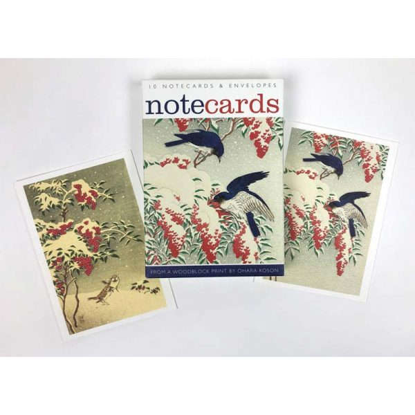 Notecards pack of 'Flycatchers in the Snow & Sparrows in the Snow' by Ohara Koson