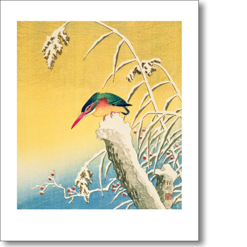 Greeting card of 'Kingfisher in the Snow' by Ohara Koson