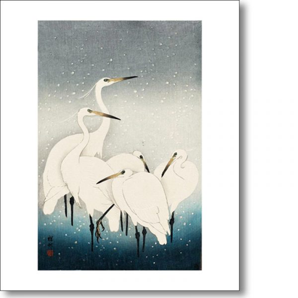 Greeting card of 'Herons in the Snow' by Ohara Koson