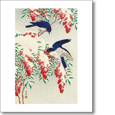 Greeting card of 'Flycatchers in Snow' by Ohara Koson