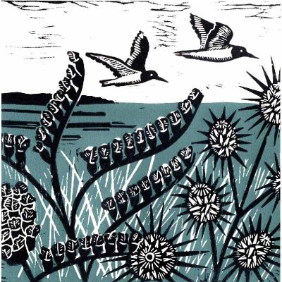 'Oystercatchers Over Holkham' linocut print by Kate Heiss
