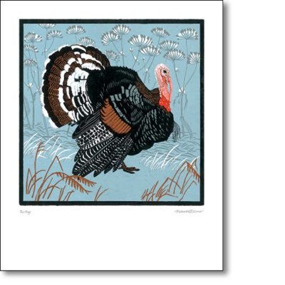 Greeting card of 'Norfolk Black Turkey' by Robert Gillmor