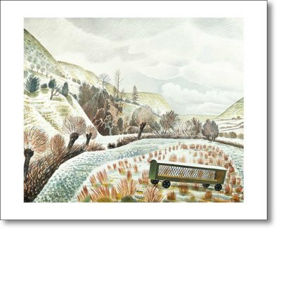 Greeting card of 'New Year Snow, 1935' by Eric Ravilious