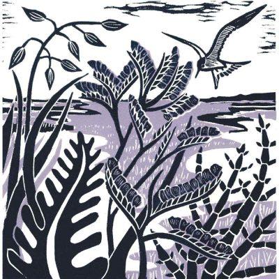 'Sea Lavender & Samphire' linocut print by Kate Heiss