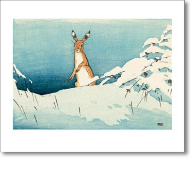 Greeting card of 'Snow and Hare' by Allen William Seaby