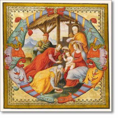 Christmas Card of 'Adoration of the Magi (Illuminated Letter O)'
