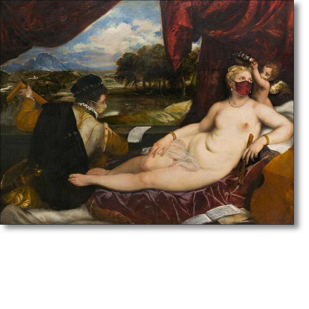 Christmas Card of 'Venus and Cupid with a Lute-player' by Titian