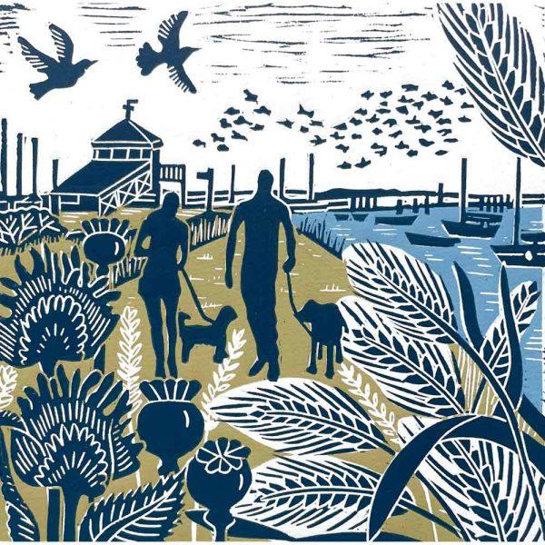 'Walking the Coast Path' linocut print by Kate Heiss